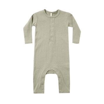 Quincy Mae - QM QM BA - Sage Ribbed Baby Jumpsuit