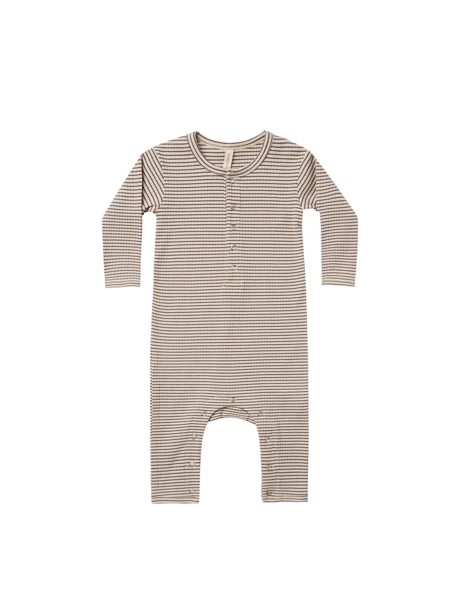 Quincy Mae - QM QM BA - Charcoal Stripe Ribbed Baby Jumpsuit