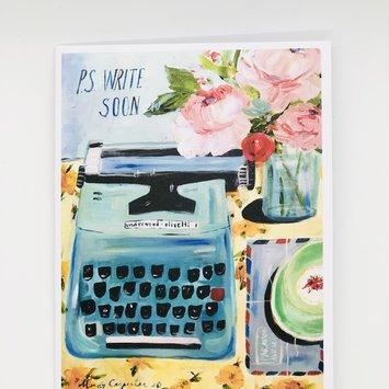 Carpe Diem - CD P.S. Write Soon Vintage Typewriter Card