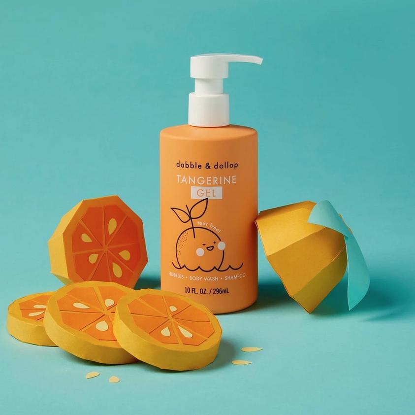 Dabble & Dollop - DD Kid's Tangerine Gel: Bubbles. Body Wash. Shampoo.