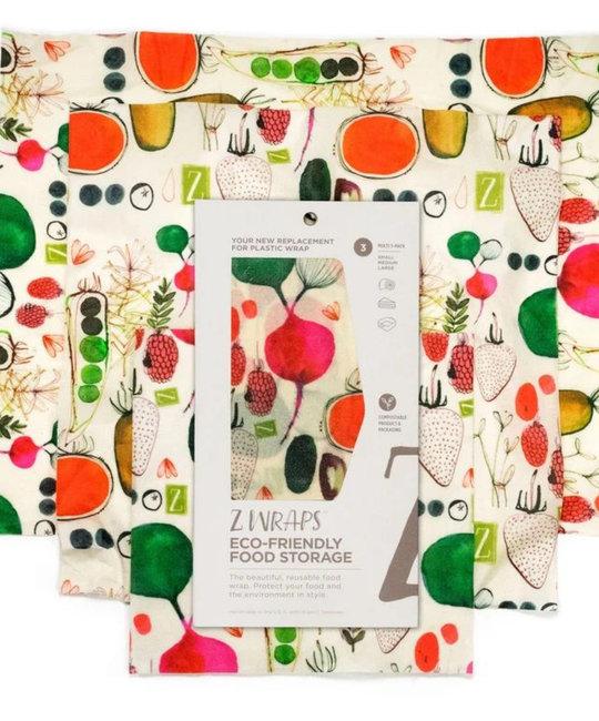 Z Wraps Eco-Friendly Food Wrap Set of 3, Farmer's Market
