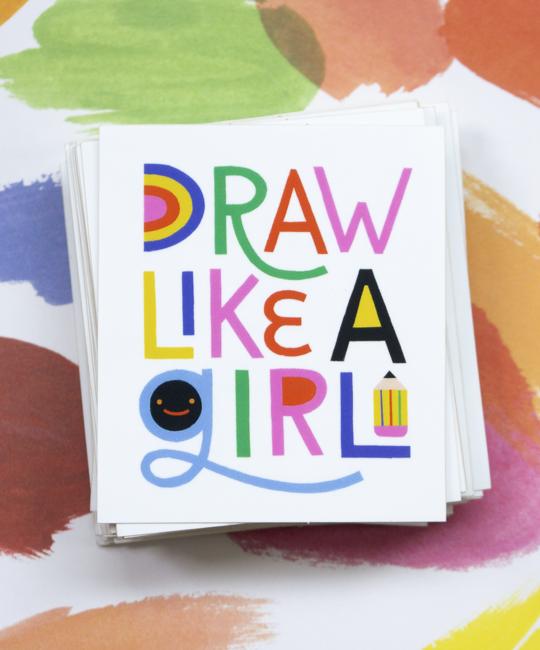 Angelope Design Draw Like a Girl Vinyl Sticker