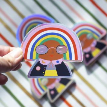 Angelope Design Holographic Rainbow Head Vinyl Sticker