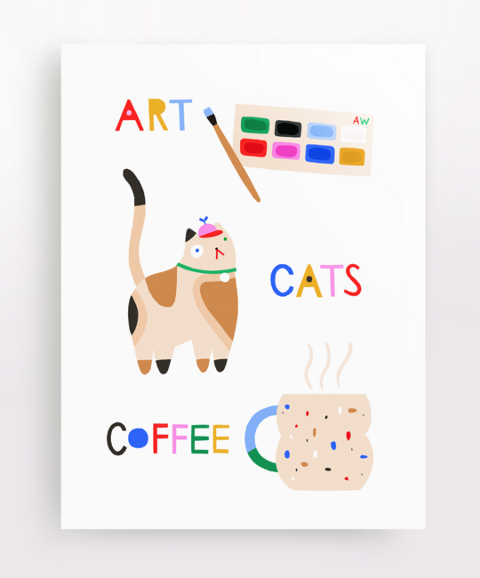 Angelope Design Art, Cats, Coffee Card