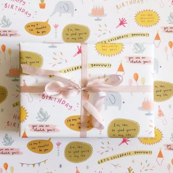 Abbie Ren Illustration - ARI Happy Birthday Wrap Sheets, Set of 3