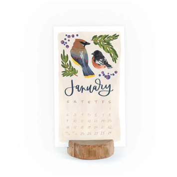 One Canoe Two Letterpress - OC 2022 Bird Desk Calendar with Wood Stump Stand