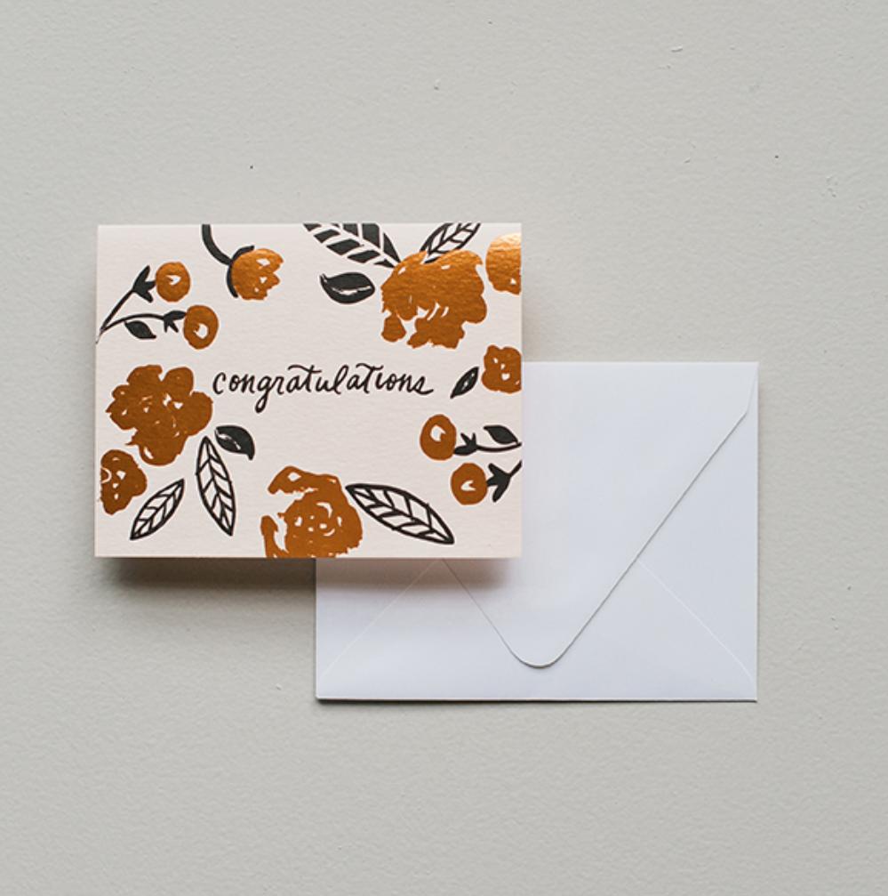 Printerette Press - PRP Congratulations Floral Foil Card