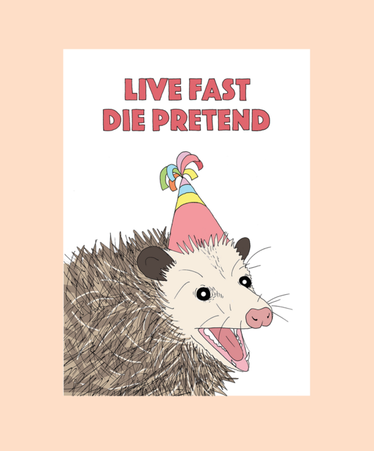 FINEASSLINES - FIN Live Fast Die Pretend Possom Card