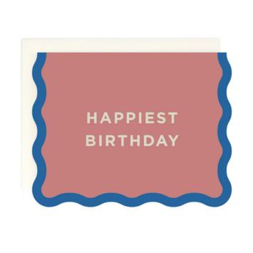 Amy Heitman Illustration - AHI Happiest Birthday Card with Wave Edge