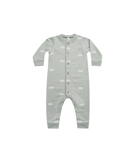 Rylee + Cru - RC RC BA - Clouds Button Down Jumpsuit in Blue Fog