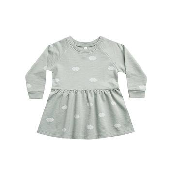 Rylee + Cru - RC RC BA - Clouds Longsleeve Raglan Dress in Blue Fog