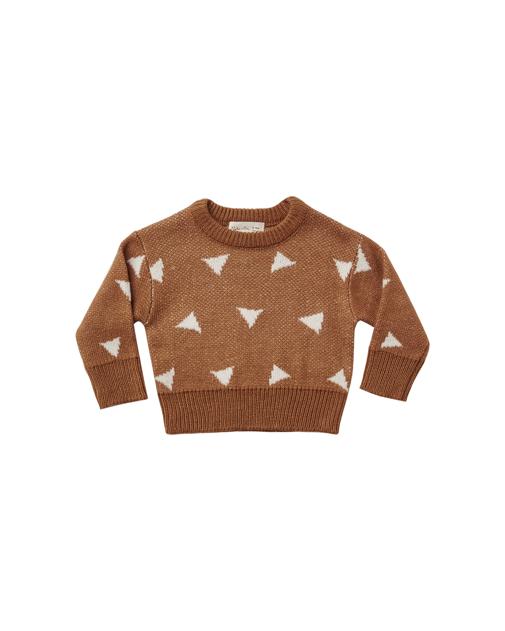 Rylee + Cru - RC RC BA - Triangles Knit Pullover in Rust