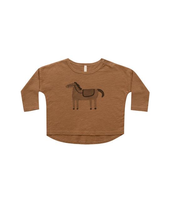 Rylee + Cru - RC RC BA - Horse Long sleeve tee in Rust