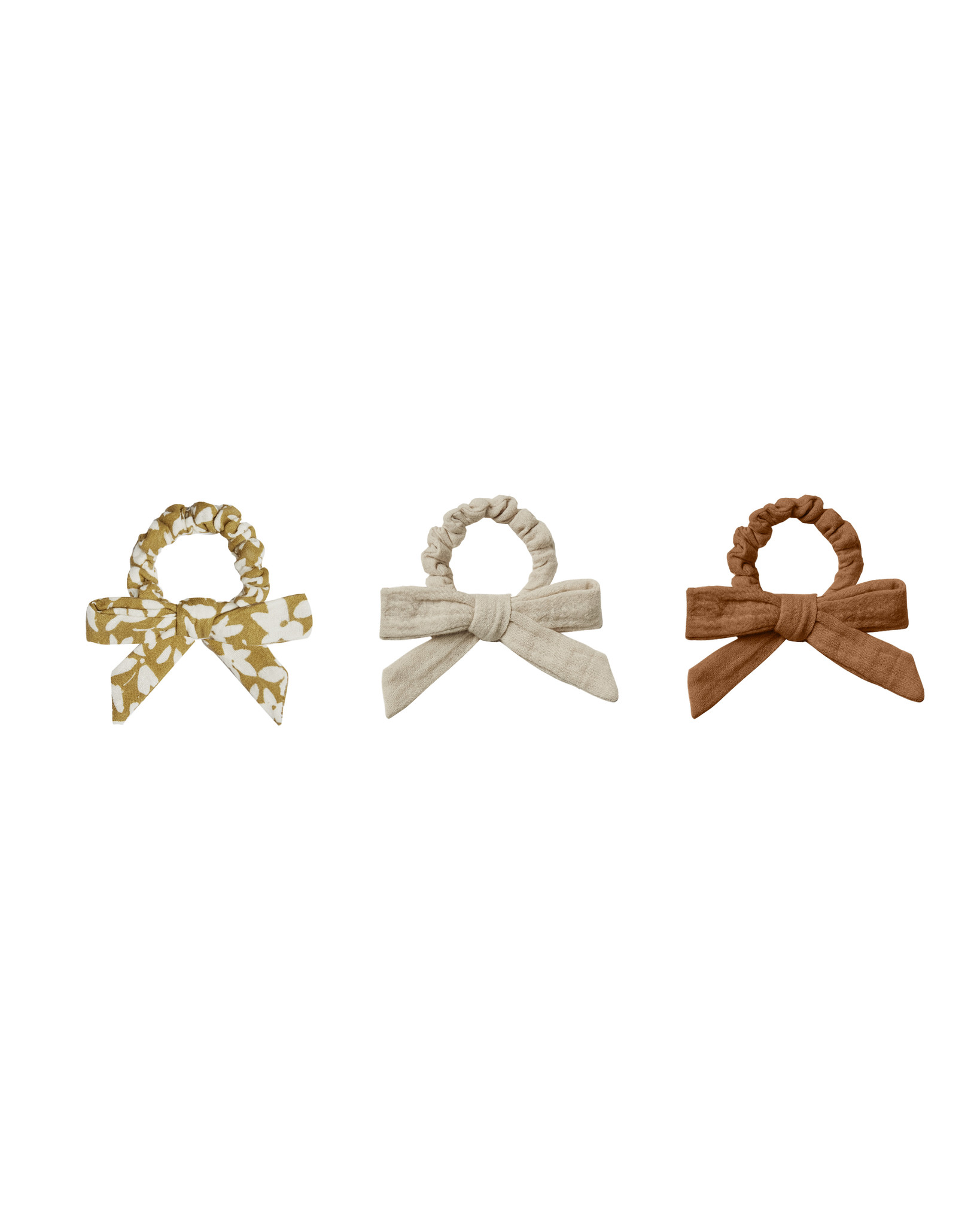 Rylee + Cru - RC RC BA - Little Bow Scrunchie Set in Rust, Gold, and Stone