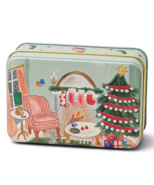 Paddywax - PA Christmas Tin Candle - Living Room Scene, Persimmon Chestnut 5 oz.