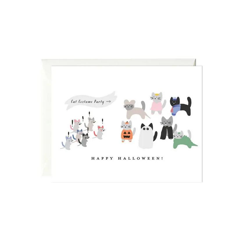 Paula & Waffle - PAW Cat Costume Party Halloween Card