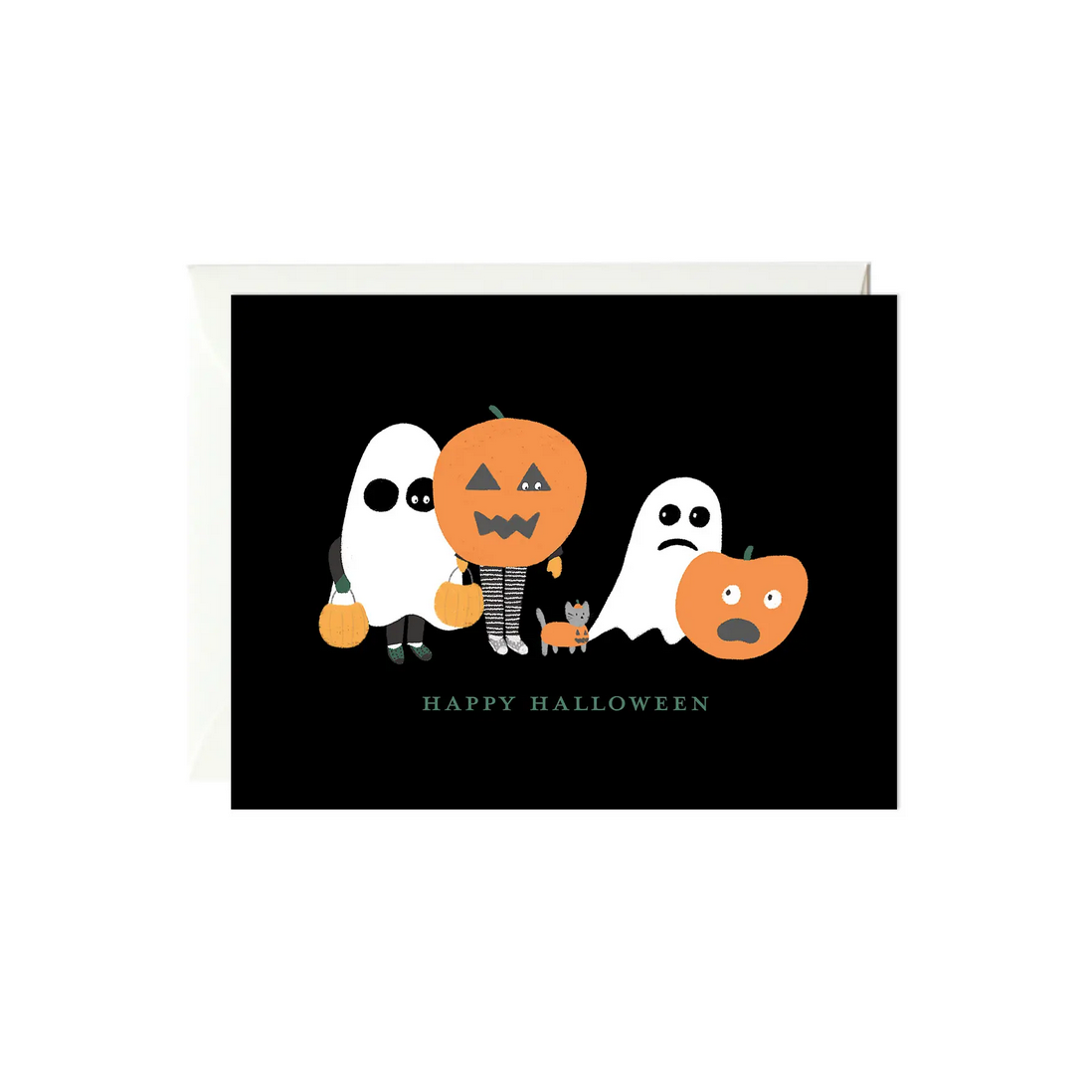 Paula & Waffle - PAW Ghost and Pumpkin Halloween Card