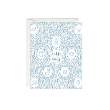 Paula & Waffle - PAW Blue Medallions Hello Baby Card