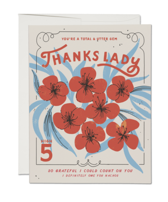 Red Cap Cards - RCC Thanks Lady Foral Thank You Card