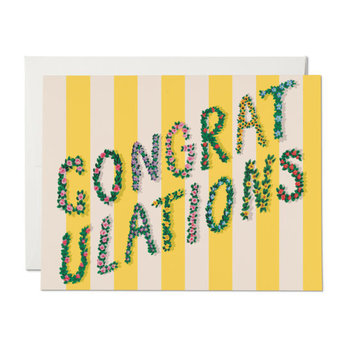 Red Cap Cards - RCC Yellow Stripes and Flowers Congratulations Card