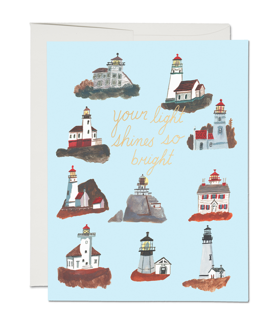 Red Cap Cards - RCC Lighthouses Your Light Shines So Bright Card