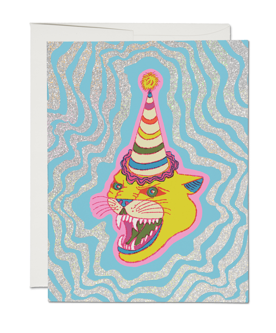 Red Cap Cards - RCC Party Hat Cat Card