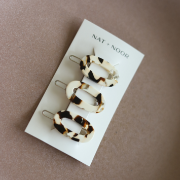 Nat + Noor - NAN Oval Barrettes in Coco Cream, set of 3