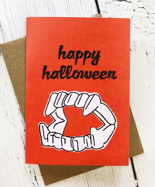 La Familia Green - LFG Happy Halloween Fangs Halloween Card