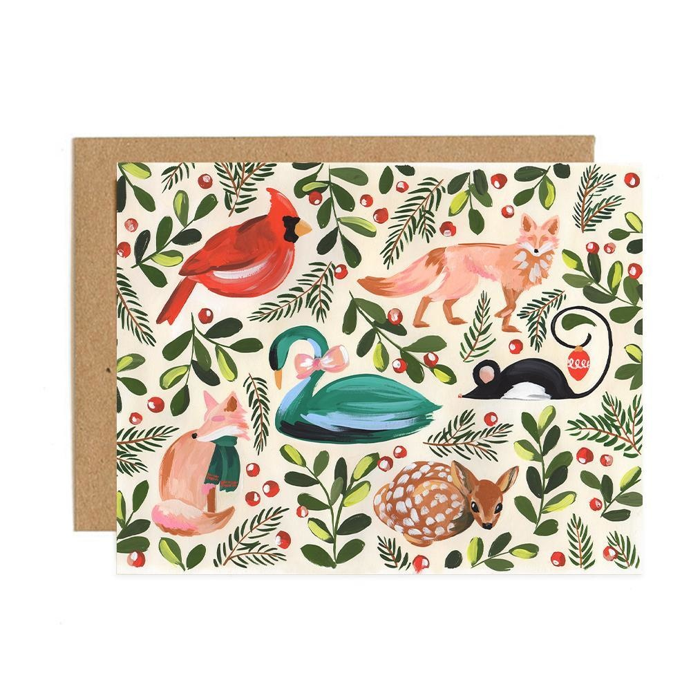 One Canoe Two Letterpress - OC Holiday Animals, Set of 8 Cards