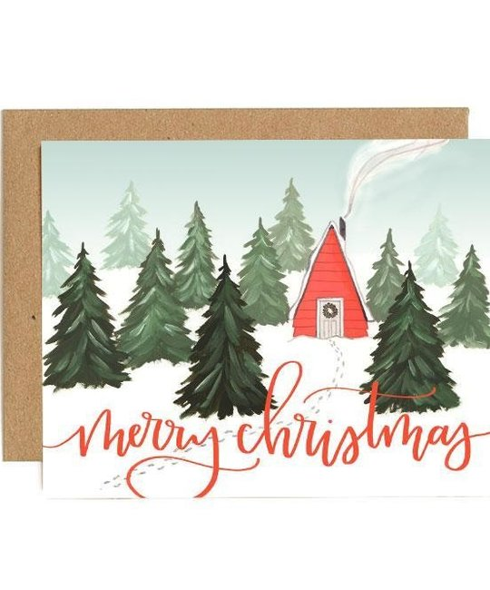 One Canoe Two Letterpress - OC Christmas Cabin, Set of 8 Holiday Cards
