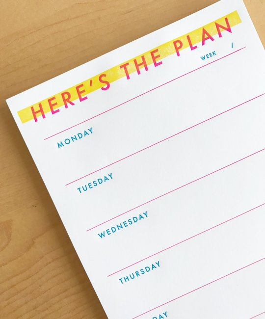 M. C. Pressure Here's The Plan Weekly Desk Notepad