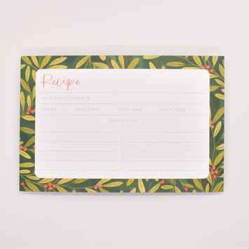 One Canoe Two Letterpress - OC Holly Border Recipe Cards, Set of 15