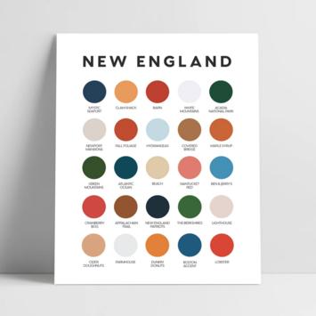 Lunch City Studio New England Color Palette Art Print