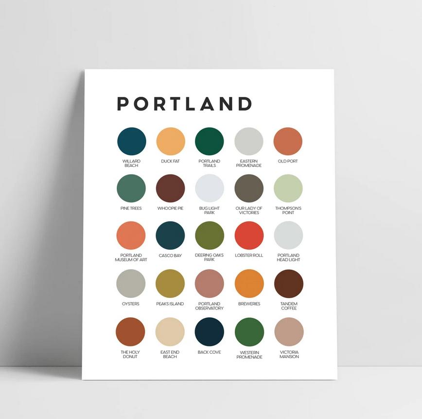 Lunch City Studio Portland Maine Color Palette Art Print