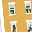 Lunch City Studio Dogs in Windows Blank Card