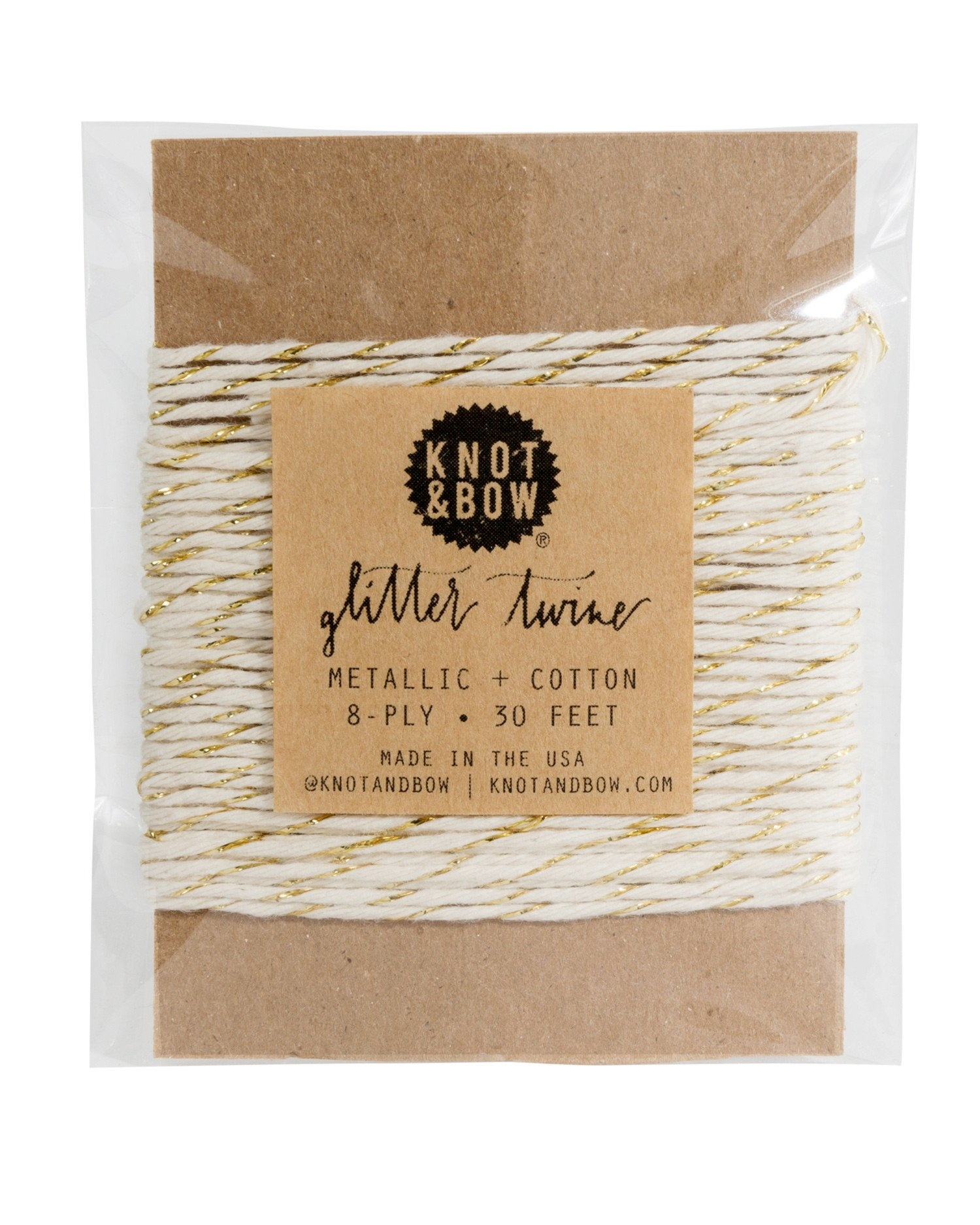 knot and bow Knot & Bow Gold Glitter/Natural Twine Card