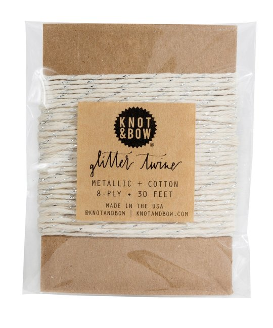 knot and bow Knot & Bow Silver Glitter/Natural Twine Card