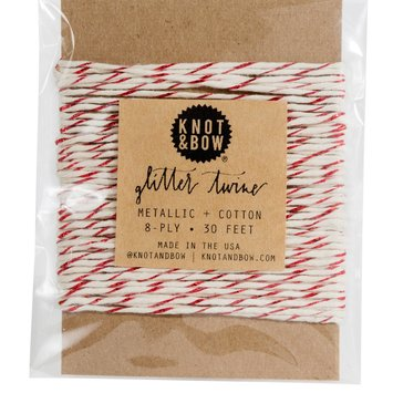 knot and bow Knot & Bow Red Glitter/Natural Twine Card