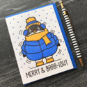 Kiss and Punch - KP Merry and Brrr-ight Puffy Penguin Holiday Card