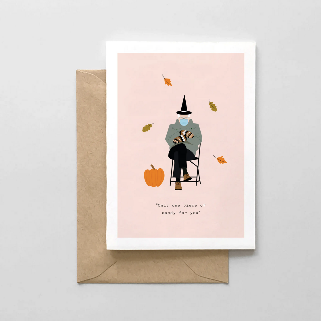 """Spaghetti & Meatballs - SAM Only One Piece of Candy For You"""" Bernie Halloween Card"""
