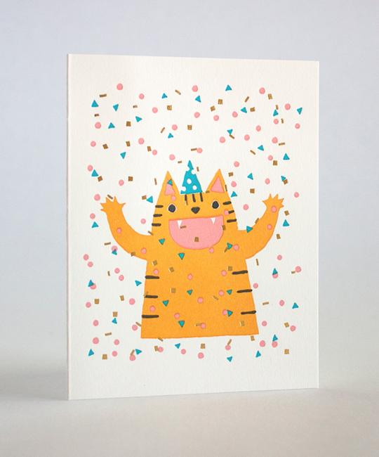 Fugu Fugu Press - FF Confetti Cat Birthday Card