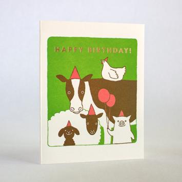 Fugu Fugu Press - FF Bday Farm Animals Birthday Card