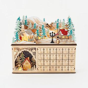 One Hundred 80 Degrees - 180 Wooden Light-Up Mountain Scene Advent Calendar