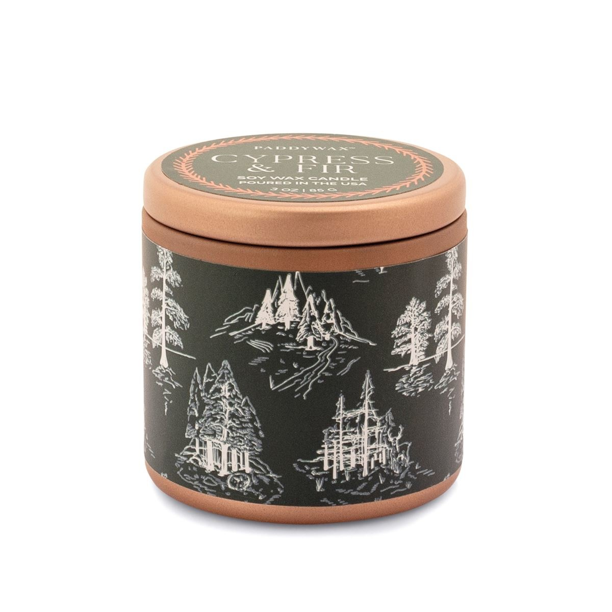 Paddywax - PA Cypress & Fir 3oz. Copper Tin with Green Label