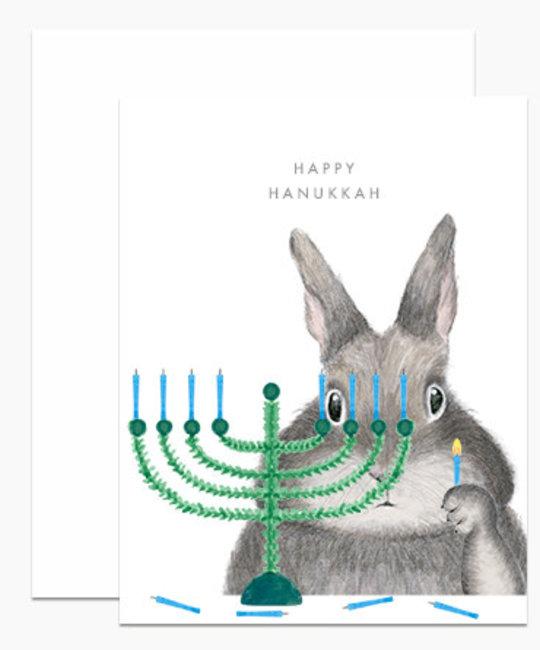Dear Hancock - DH Menorah Bunny Hanukkah Card