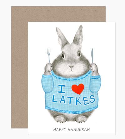 Dear Hancock - DH I Heart Latkes Bunny Hanukkah Card