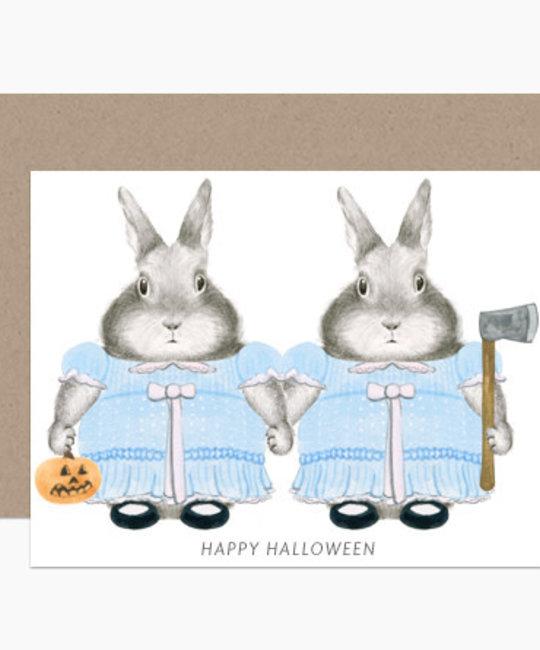 Dear Hancock - DH Shining Twins Bunnies Halloween Card
