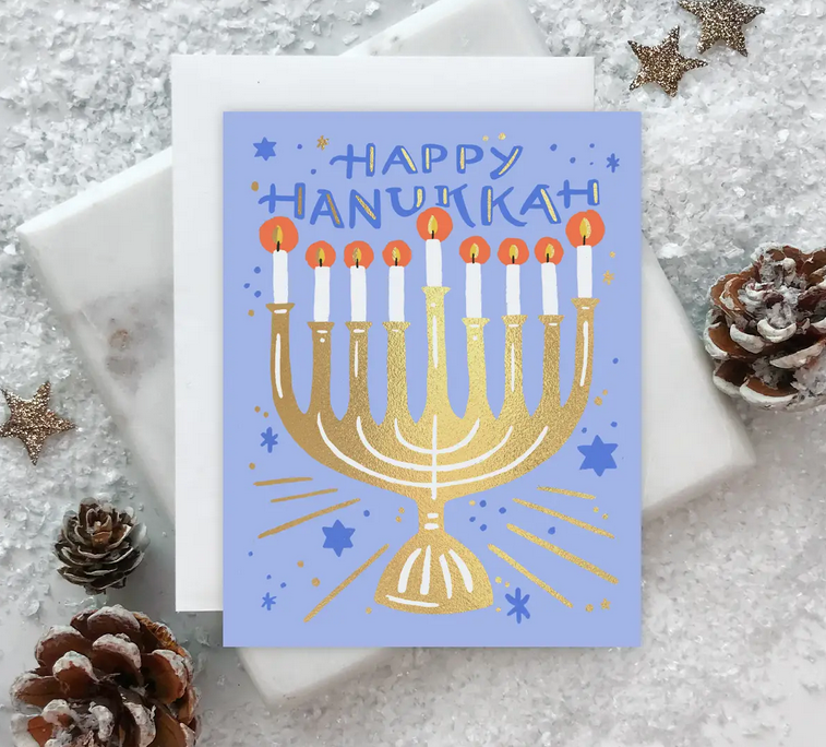 Idlewild Co - ID Starry Menorah Hanukkah Card