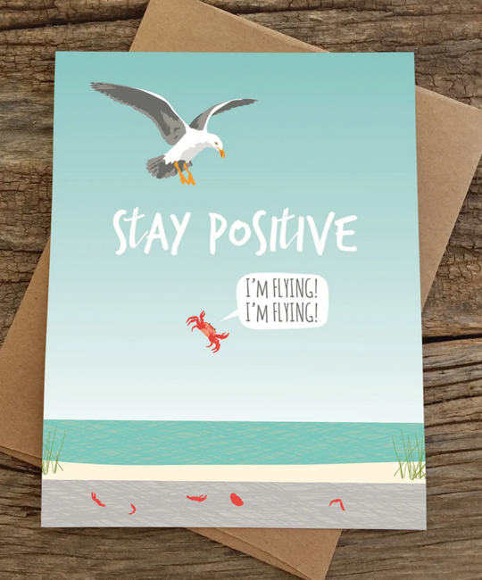 Modern Printed Matter - MPM Stay Positive Flying Crab Card