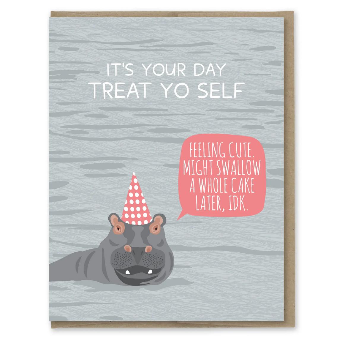 Modern Printed Matter - MPM Hippo Swallow Cake Birthday Card